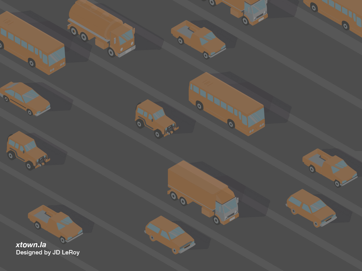 Illustration depicting the unusually sparse traffic on Los Angeles roadways.