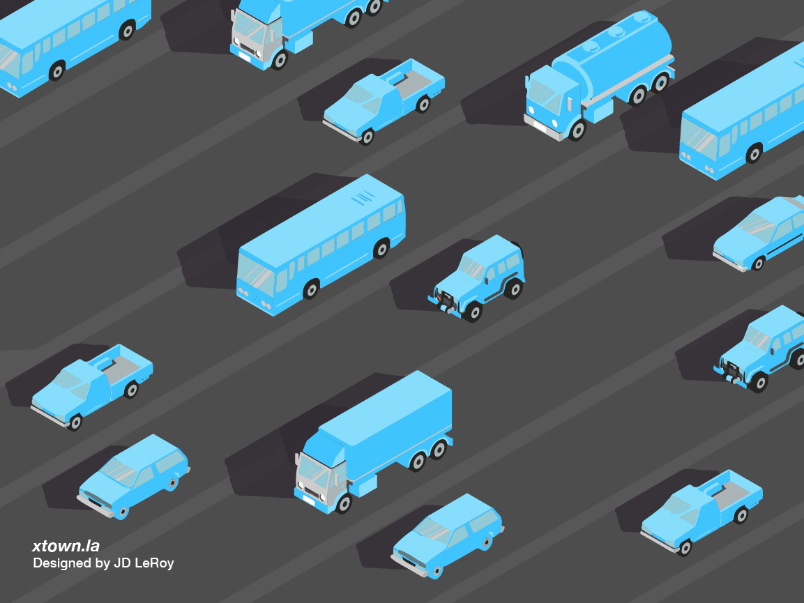 Illustration of traffic thinning on Los Angeles roadways