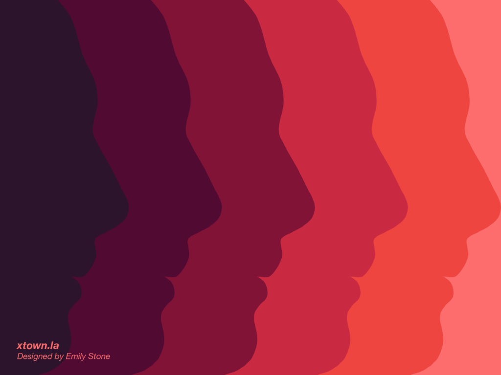 Faces in profile fading from orange on the right to dark red on the left to illustrate a story about intolerance
