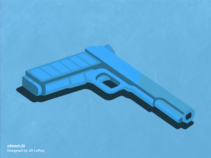Illustration by JD LeRoy of a blue gun sitting against a blue background to illustrate the rise in murder numbers in the City of Los Angeles during the first six months of 2020.