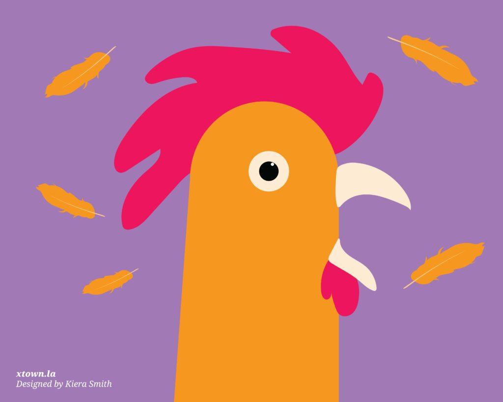 Alarmed rooster illustration
