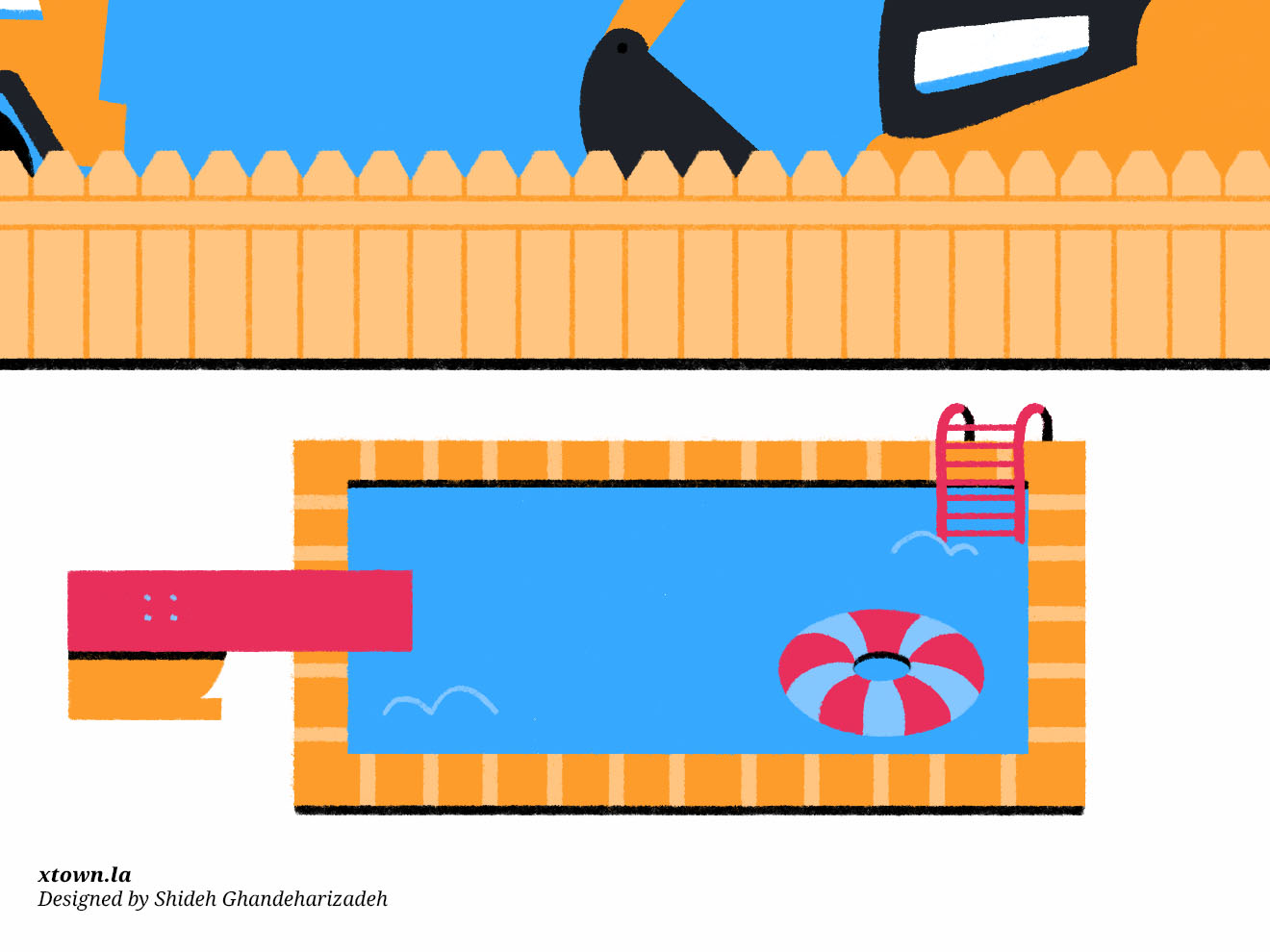 Building a pool in Los Angeles illustration