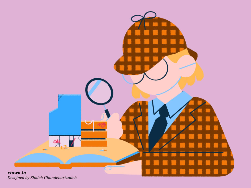 detective with microscope illustration