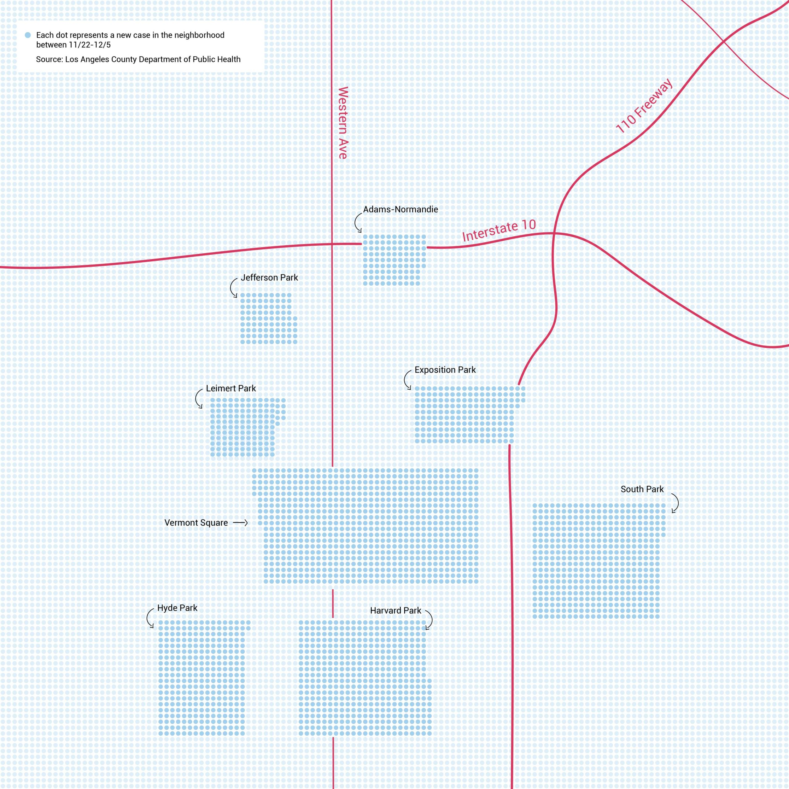 Map of South LA neighborhoods with the sharpest COV ID-19 spike