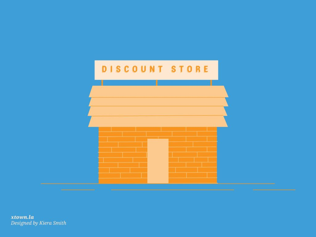 illustration of discount store exterior