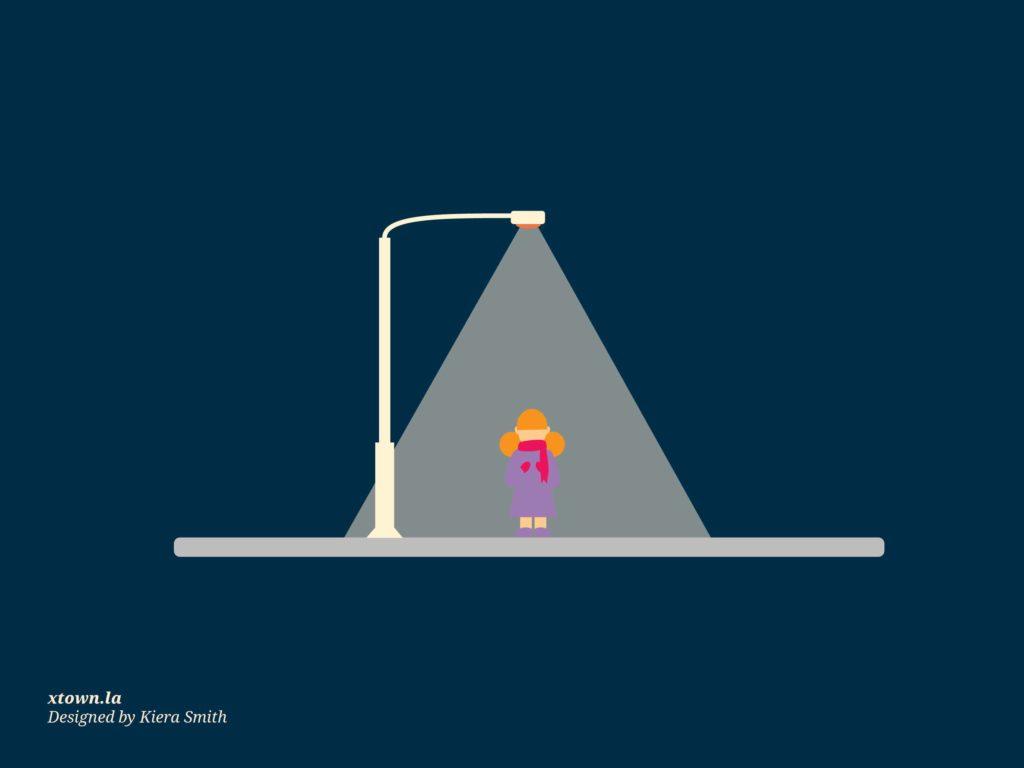 illustration of woman under streetlight