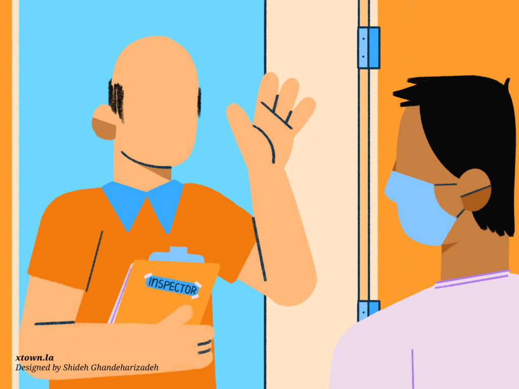 Illustration of an inspector at the door