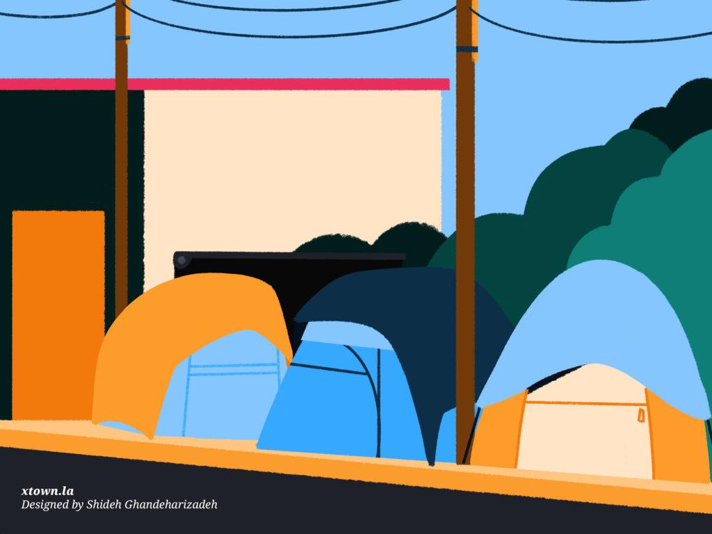 Illustration of tent encampments