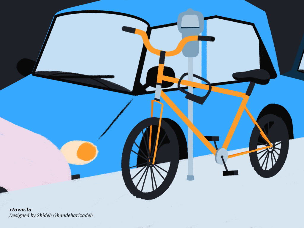 Illustration of a locked bike
