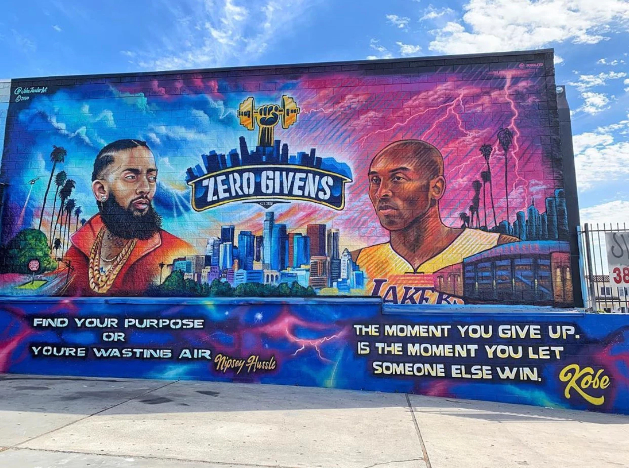 Mural of Kobe Bryant and Nipsey Hussle