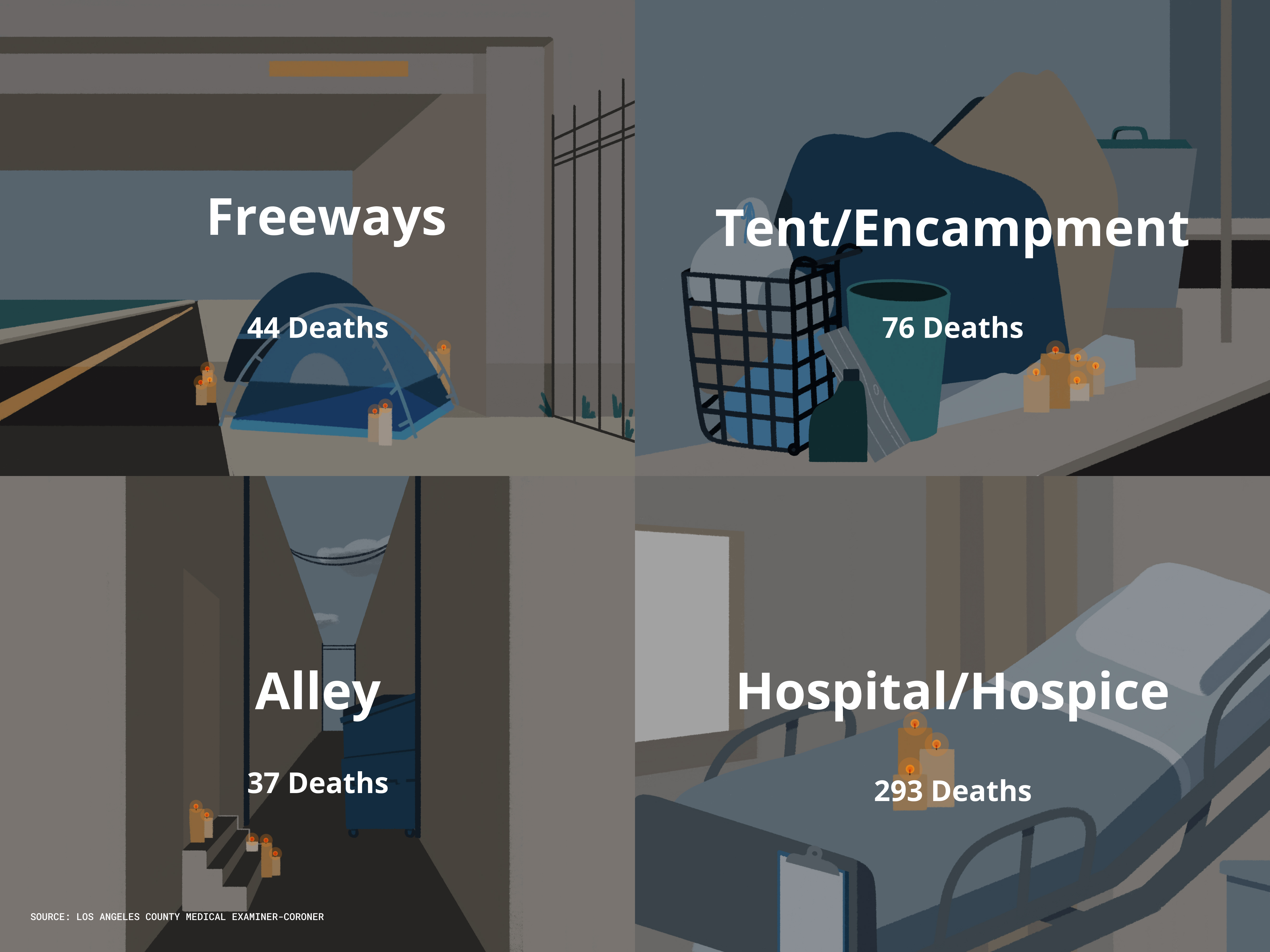 Illustration of places where homeless deaths have occurred