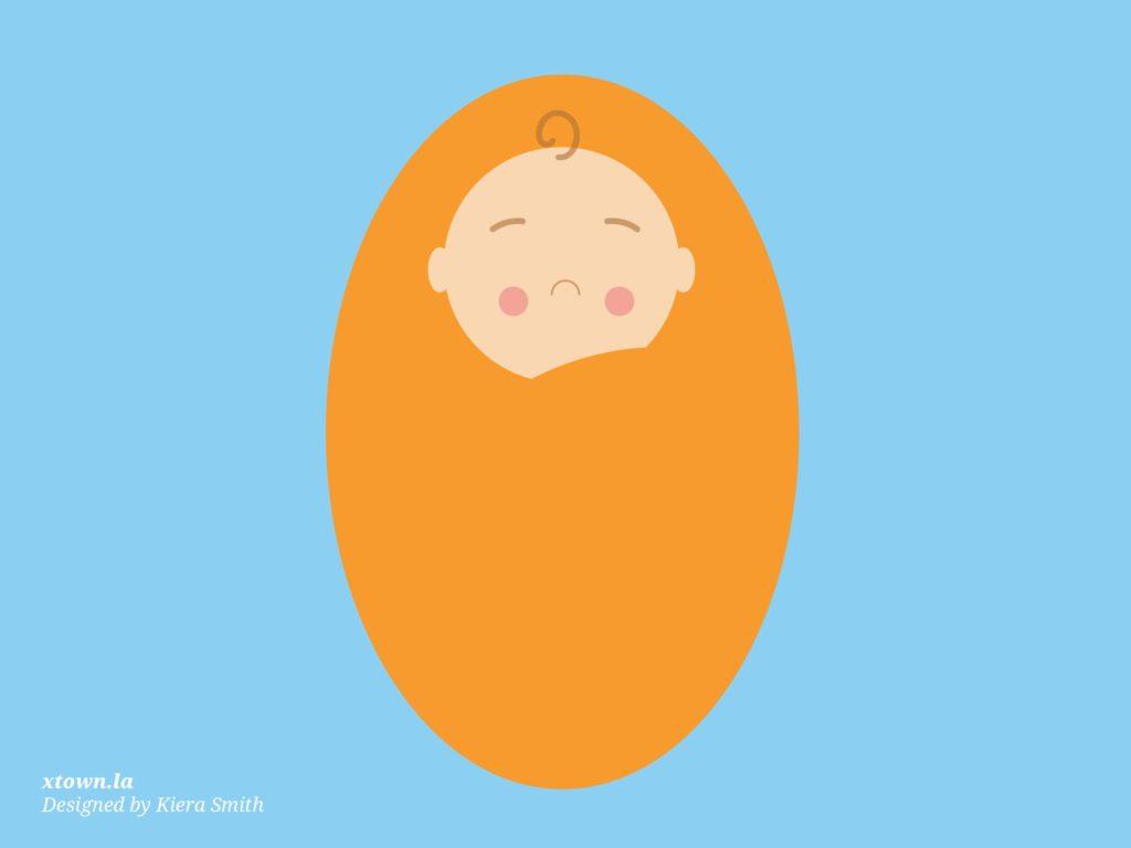Illustration of a sad baby
