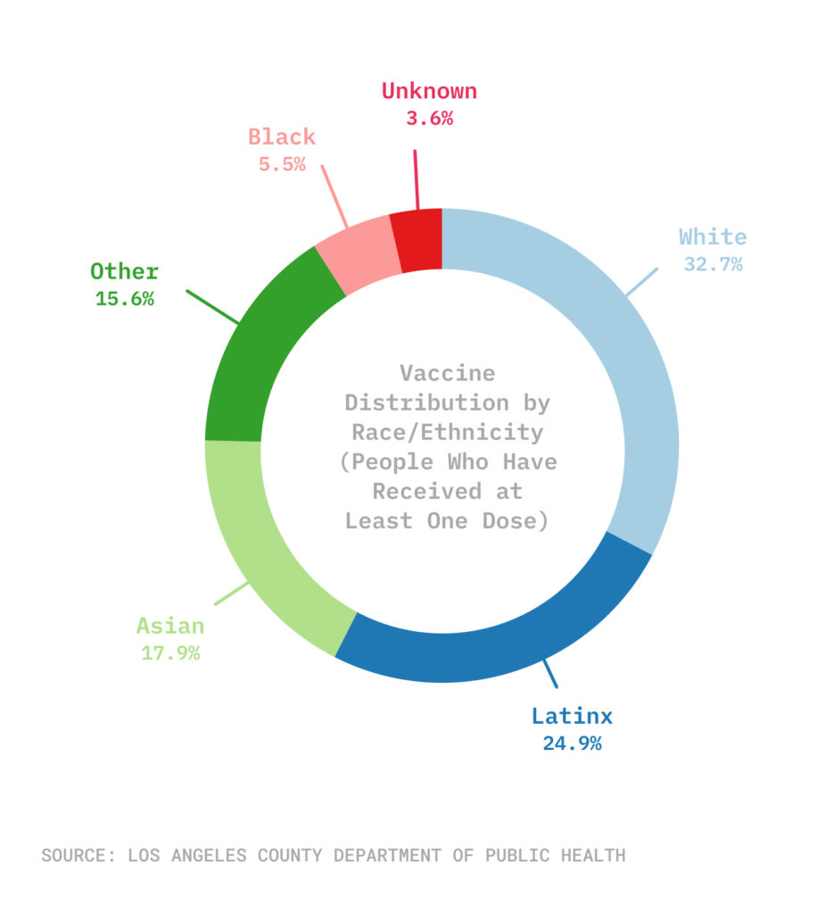 Pie chart with vaccine distribution by ethnicity