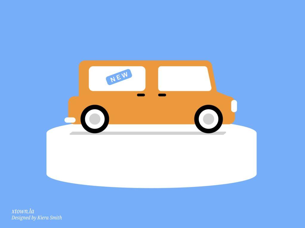 Illustration of a car at a dealership