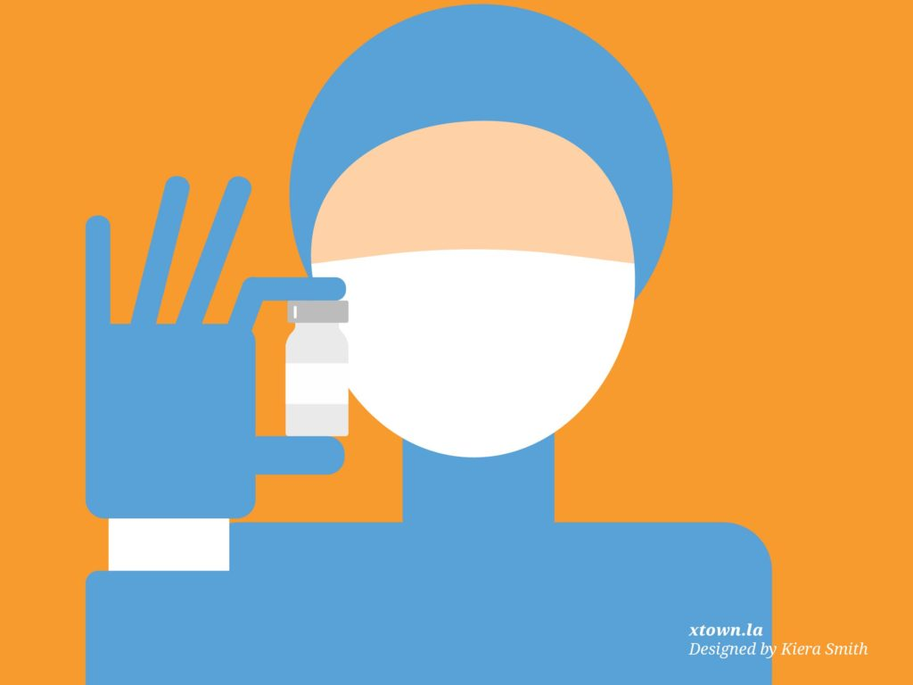 Illustration of someone with a vaccine vial