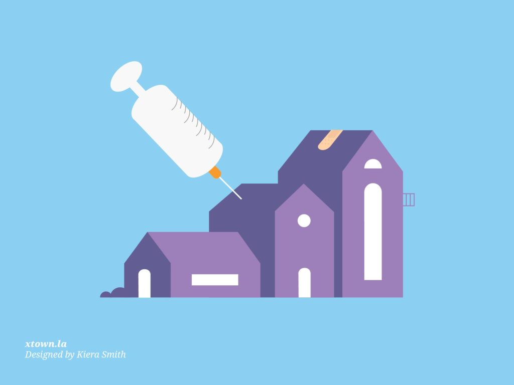 Illustration of a needle going into a house