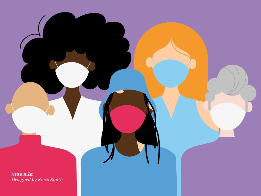 Illustration of people with masks