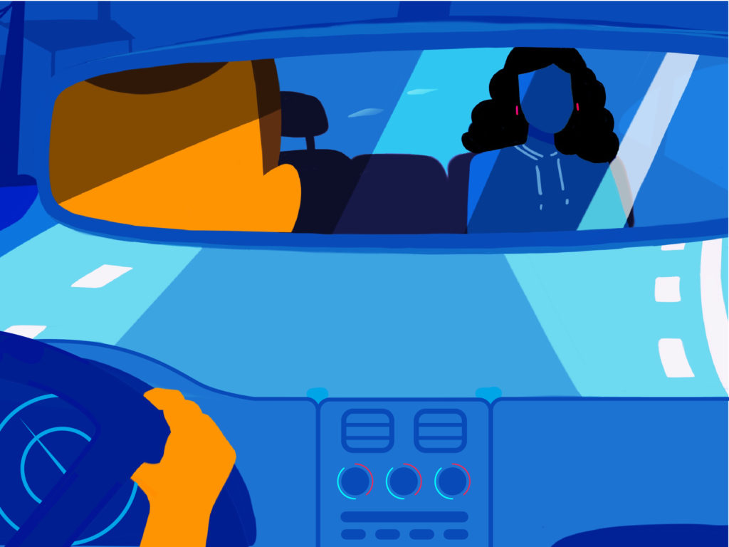 Illustration of a rideshare driver with a passenger