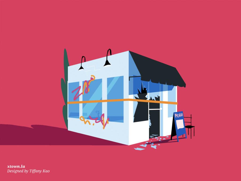 Illustration of a vandalized restaurant