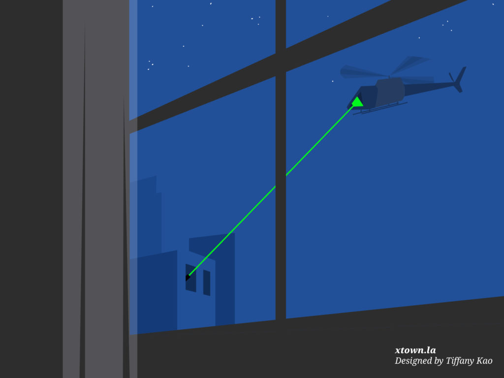 Illustration of a laser pointer targeting a helicopter