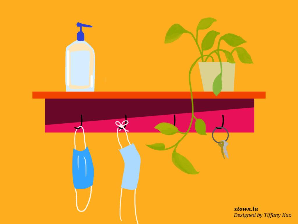 Illustration of masks, hand sanitizer