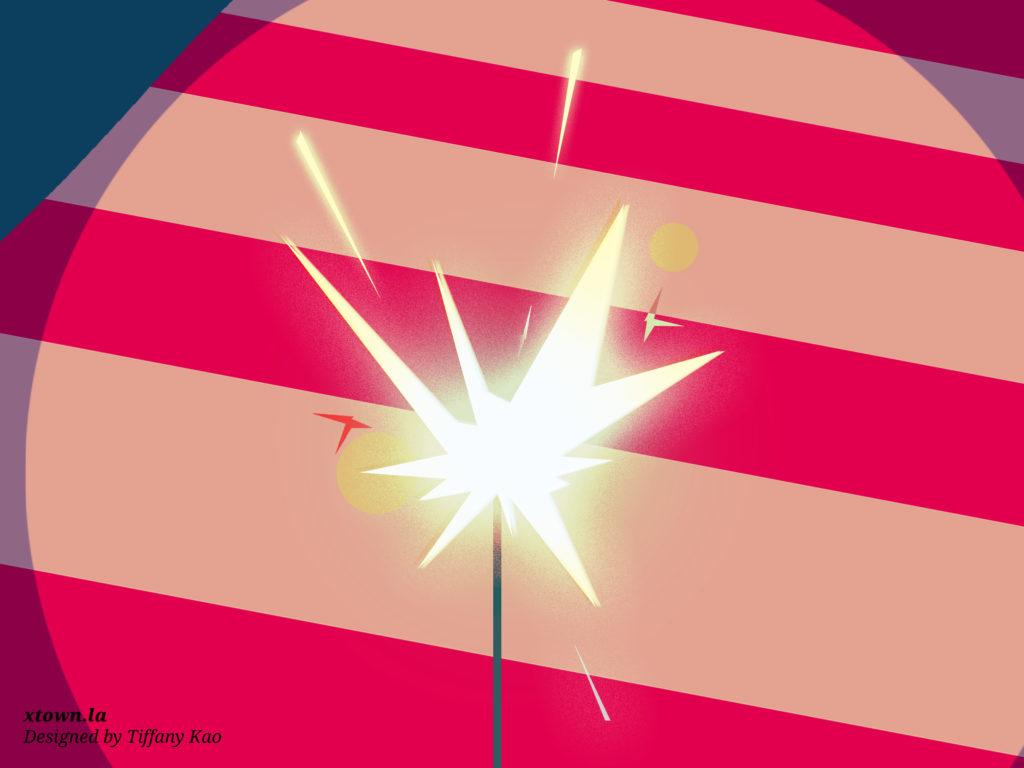 Illustration of a flag and a sparkler