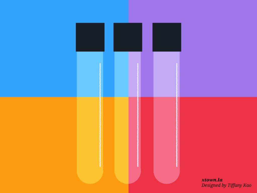 Illustration of vials for testing