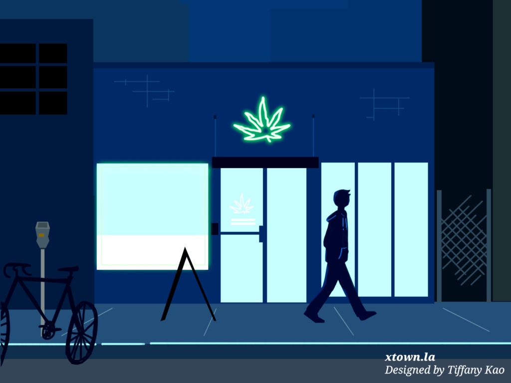 Illustration of a man walking by a pot dispensary