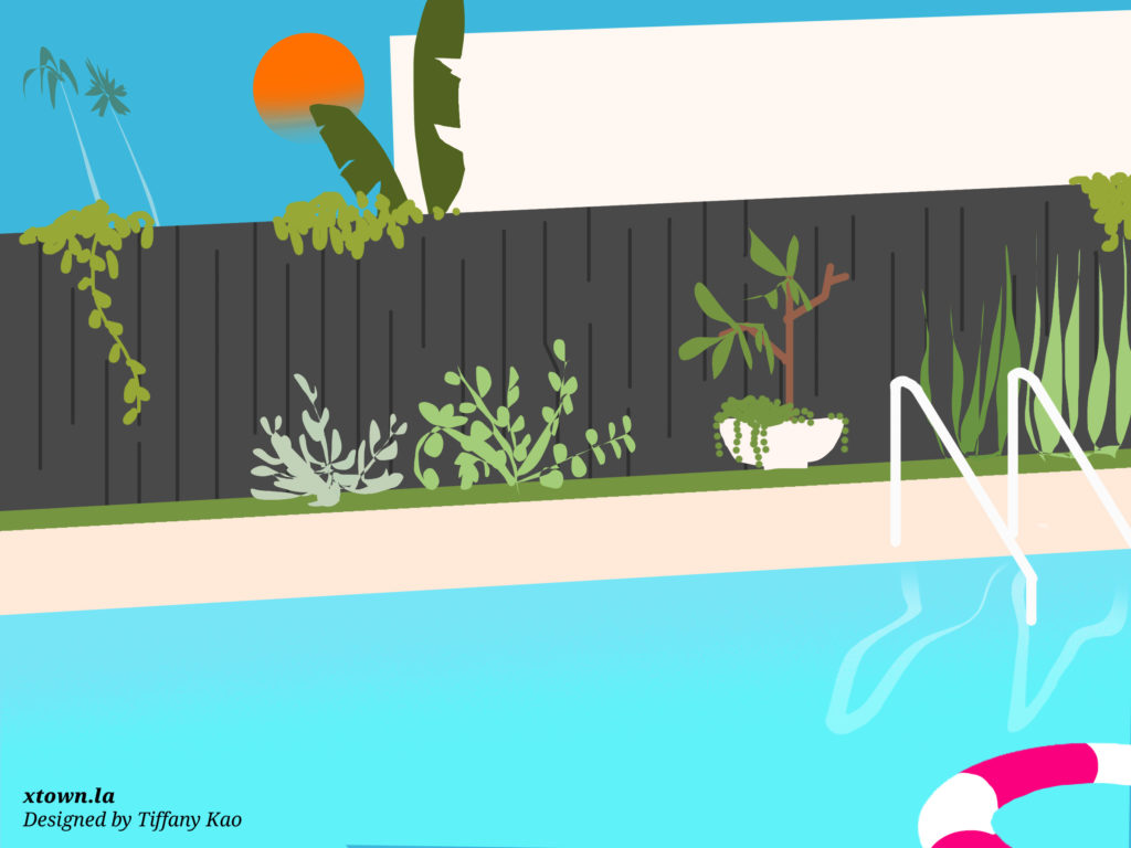 Illustration of a backyard pool with a fence